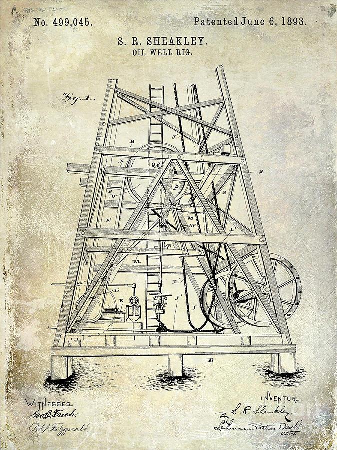 Oil Photograph - 1893 Oil Well Rig Patent by Jon Neidert
