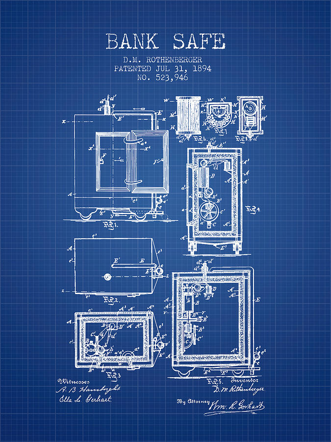 1894 bank safe patent blueprint digital art by aged pixel bank safe digital art 1894 bank safe patent blueprint by aged pixel malvernweather Images
