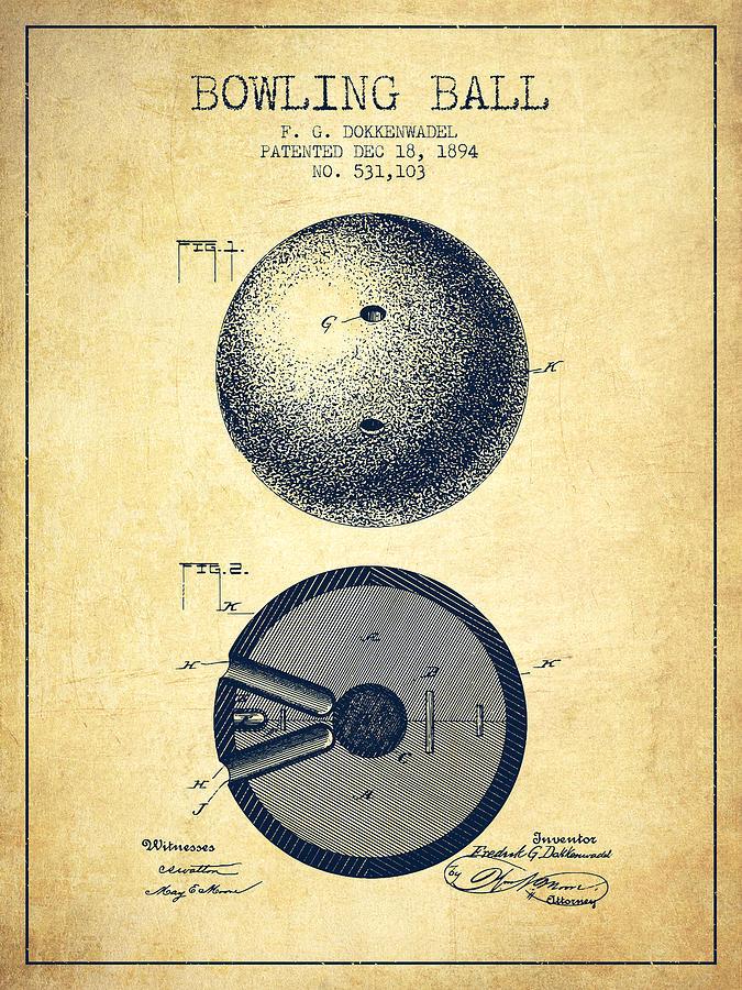 Bowling Digital Art - 1894 Bowling Ball Patent - Vintage 1894 by Aged Pixel