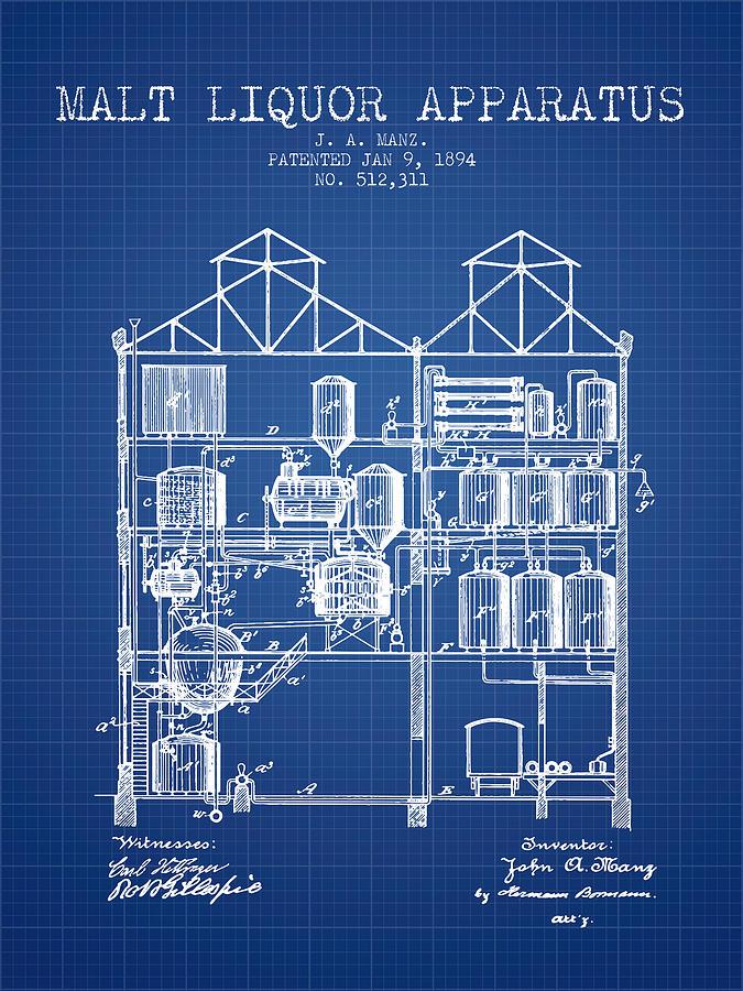 1894 Malt Liquor Apparatus Patent Blueprint By Aged Pixel