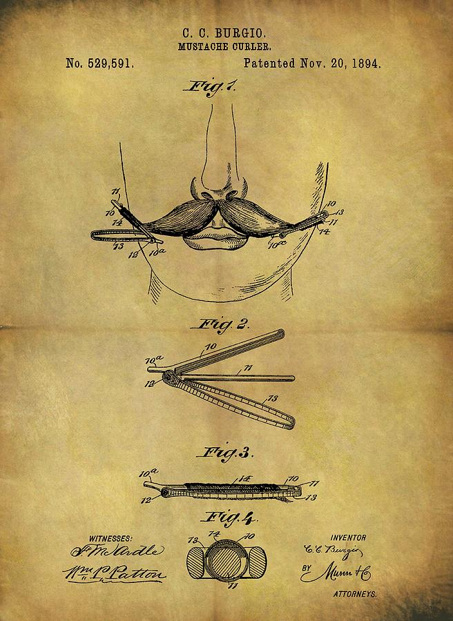 1894 Mustache Curler Patent Drawing by Dan Sproul
