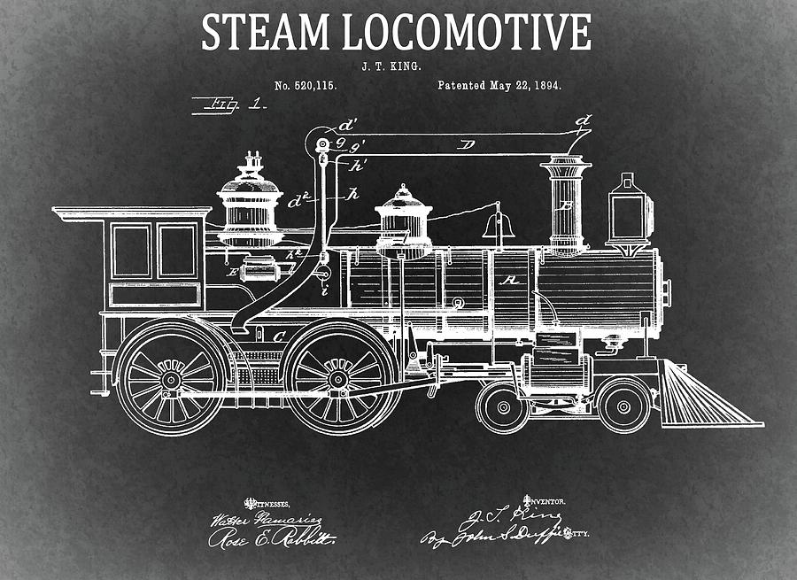 1894 steam locomotive blueprint drawing by dan sproul locomotive drawing 1894 steam locomotive blueprint by dan sproul malvernweather Gallery