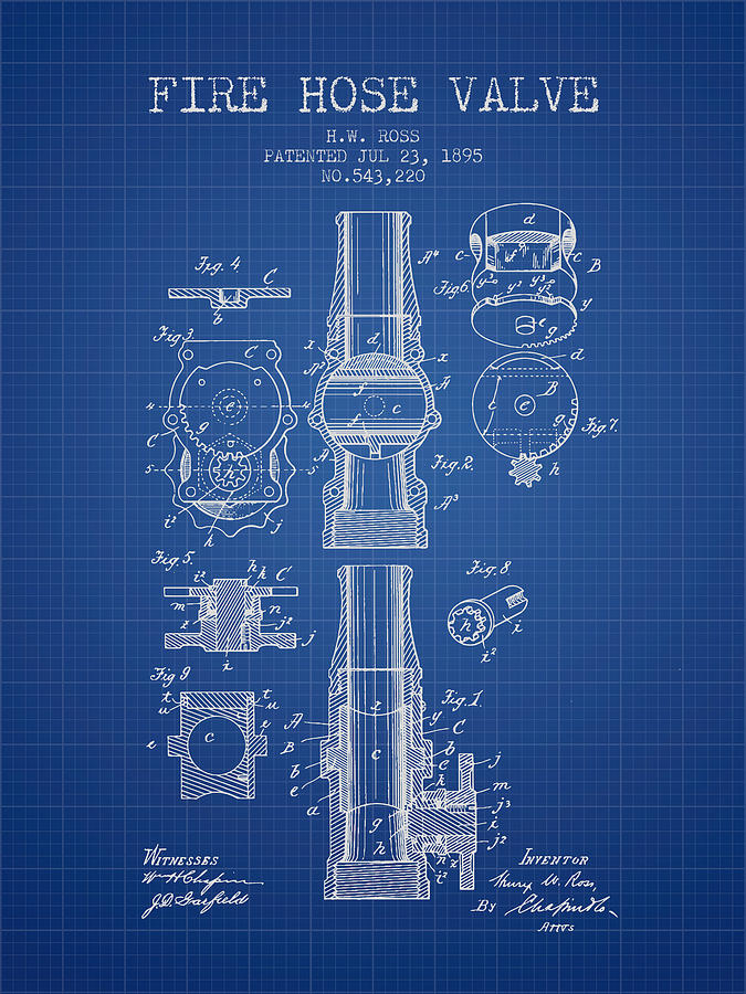 1895 fire hose valve patent blueprint digital art by aged pixel patent digital art 1895 fire hose valve patent blueprint by aged pixel malvernweather Image collections