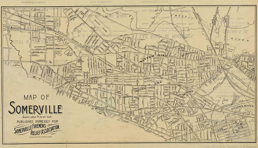 1895 Map Of Somerville Ma Detailed Historical Map Digital Art by