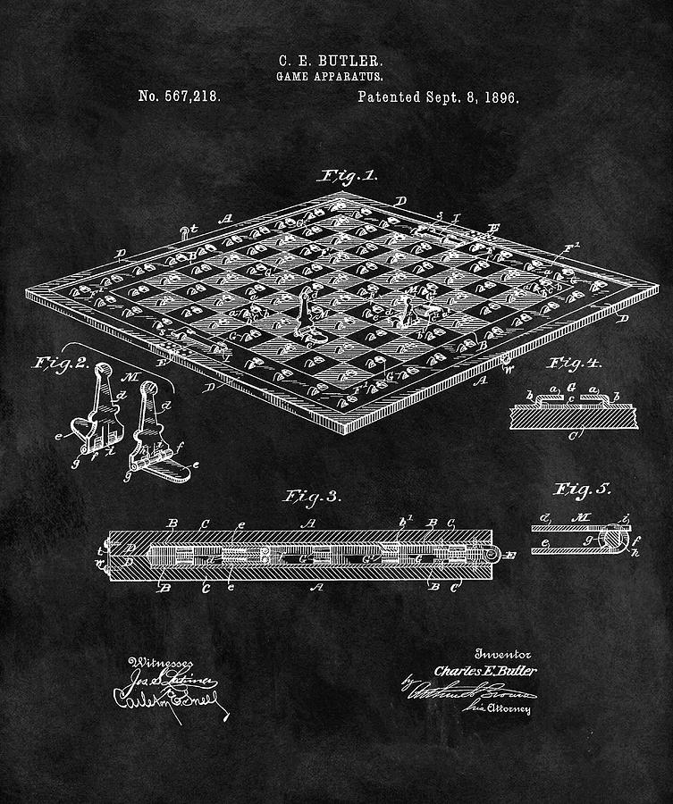 Chess Set Mixed Media - 1896 Chessboard Patent by Dan Sproul
