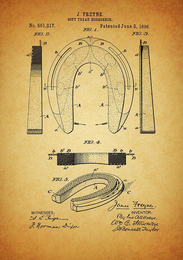 Horseshoe Mixed Media - 1896 Horseshoe Patent by Dan Sproul