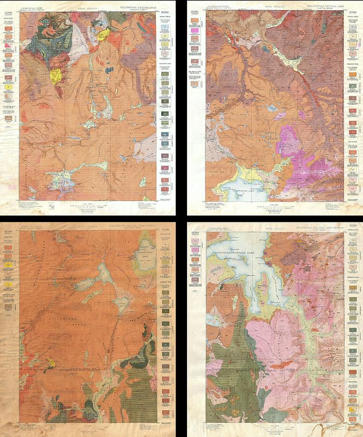 Us Geological Survey Geological Map Of Yellowstone National - 1896 map of us