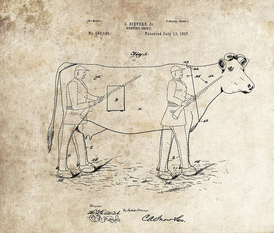 Hunting Drawing - 1897 Hunting Decoy Patent 1897 by Dan Sproul