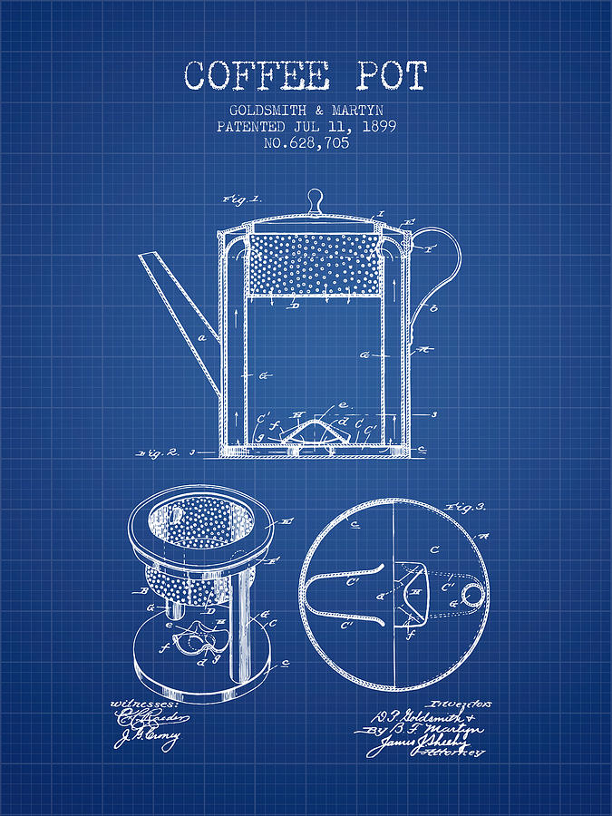 1899 coffee pot patent blueprint digital art by aged pixel coffee digital art 1899 coffee pot patent blueprint by aged pixel malvernweather