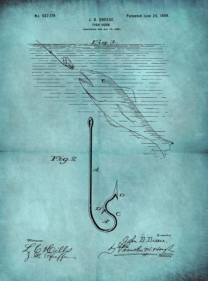 1899 Fishing Hook Patent Blue Drawing