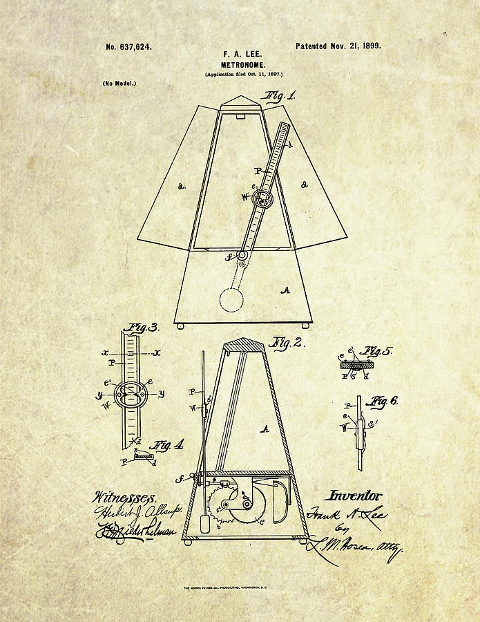 Metronome Digital Art - 1899 Metronome Patent Art by Gary Bodnar