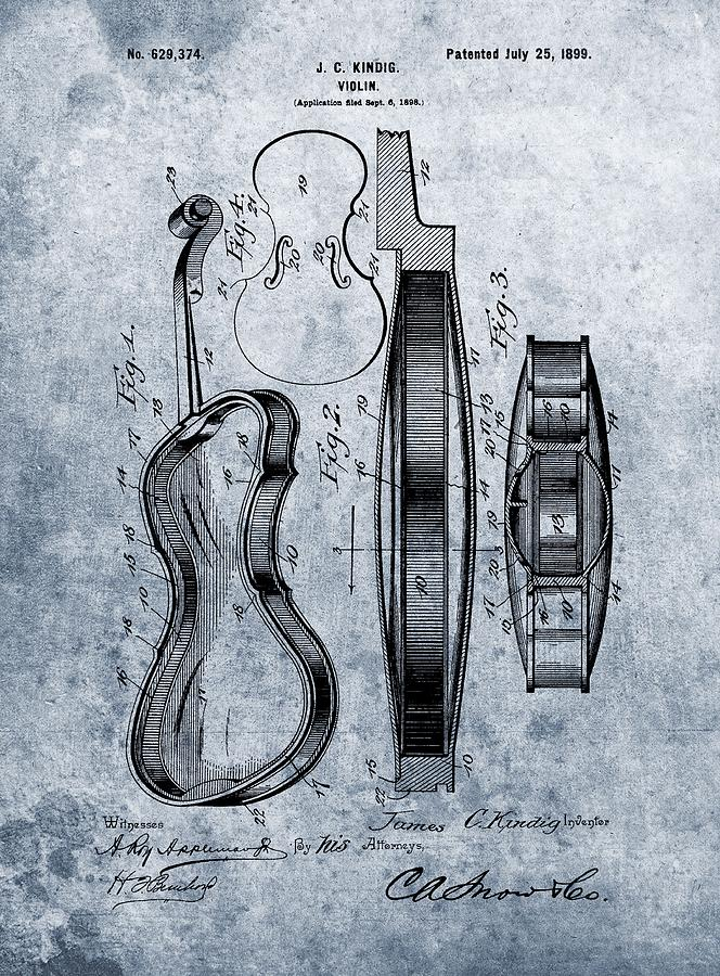 1899 Violin Blue Patent Drawing