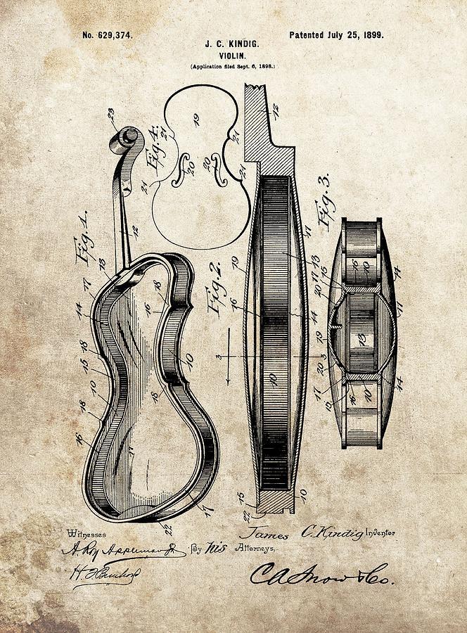 1899 Violin Patent Illustration Drawing