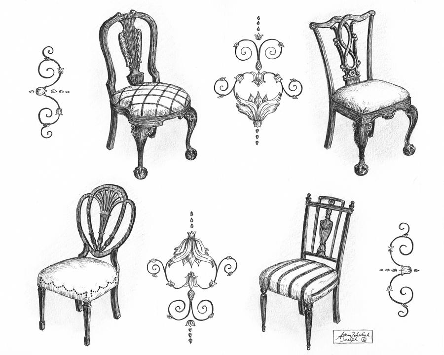 Black Drawing - 18th Century English Chairs by Adam Zebediah Joseph