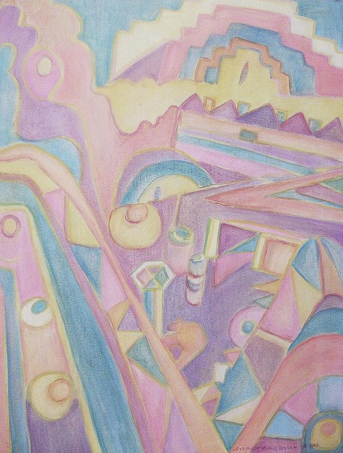 Pastel Painting - 18th Century Greek Church Abstract by Suzanne  Marie Leclair