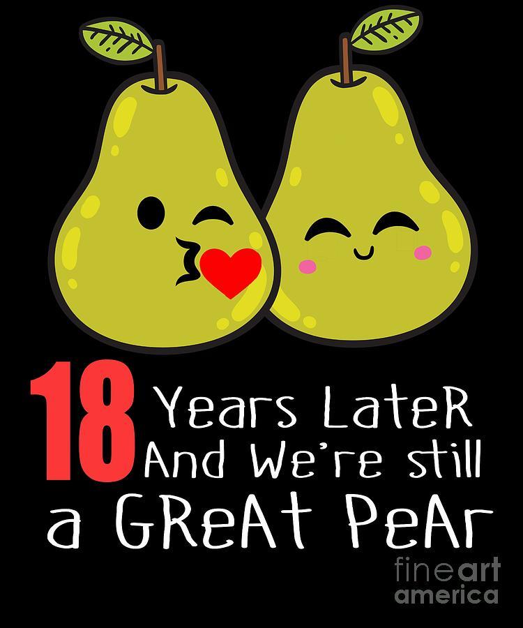 18th Wedding Anniversary Funny Pear Couple Gift Digital Art By Carlos Ocon