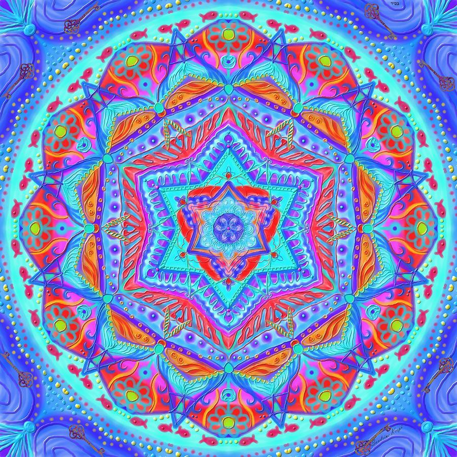 Birth Digital Art - Birth Mandala- Blessing Symbols by Sandrine Kespi