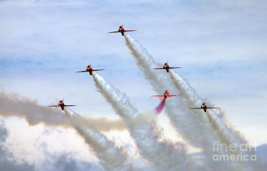 Red Arrows Photograph - Red Arrows by Angel  Tarantella
