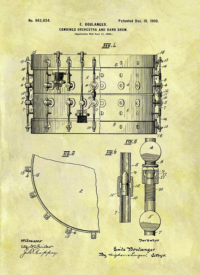 1900 Band Drum Patent Drawing