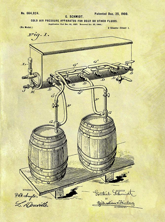 1900 Beer Cooler Patent Drawing