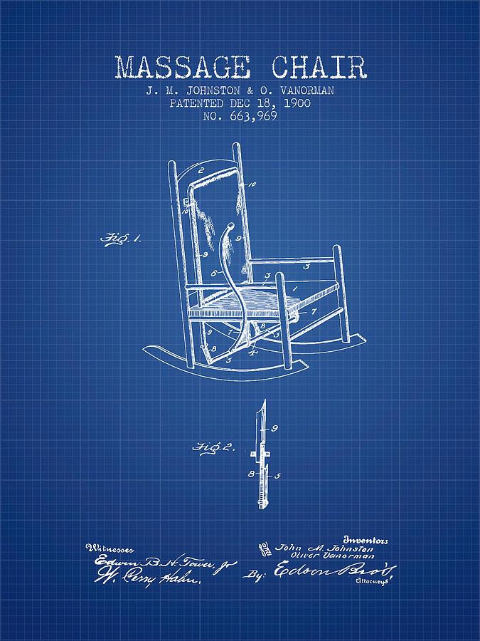 1900 massage chair patent blueprint digital art by aged pixel