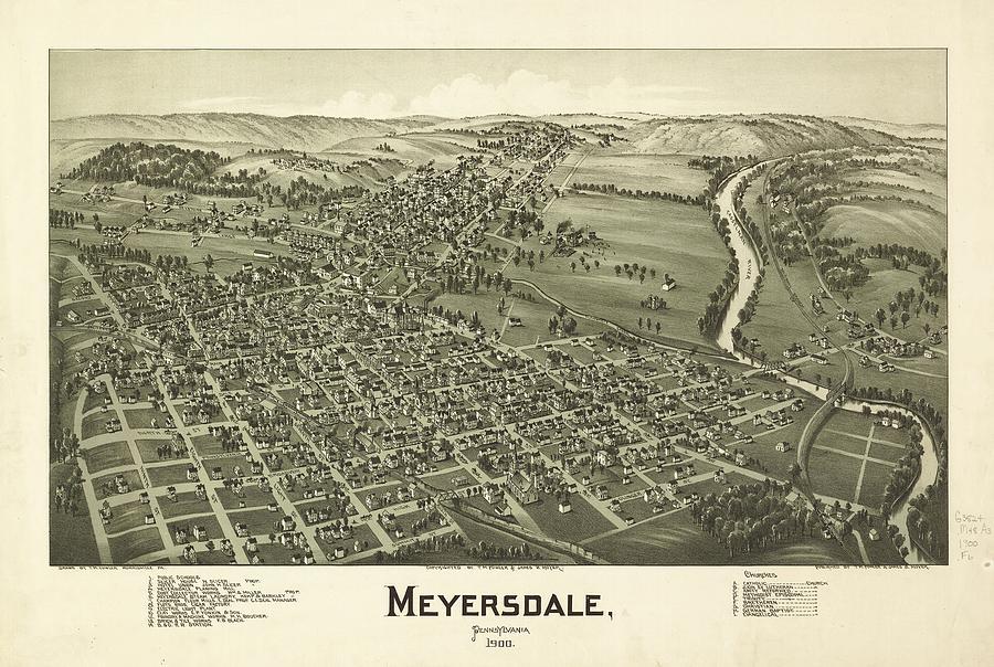 1900 Meyersdale Pennsylvania Map Drawing