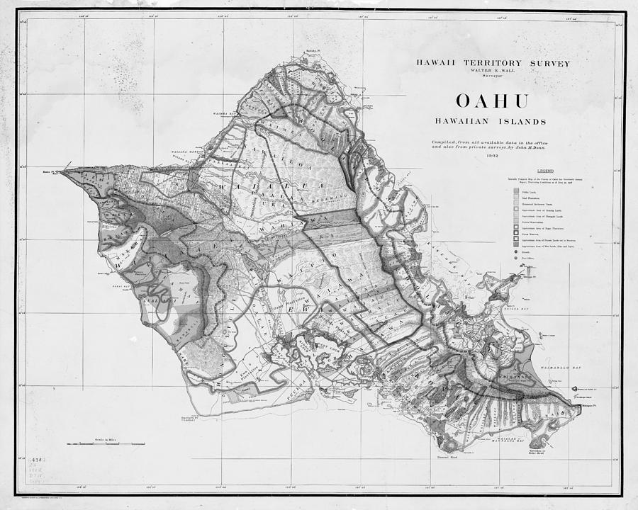 1900s Historical Oahu Map In Black And White Digital Art