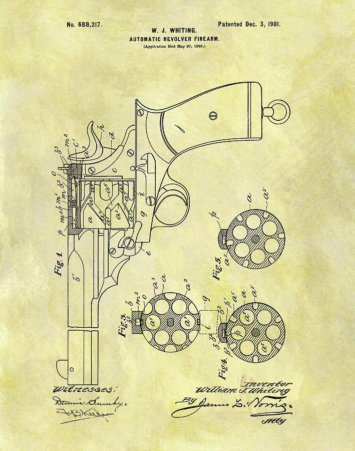 Antique Revolver Drawing - 1901 Automatic Revolver Patent by Dan Sproul