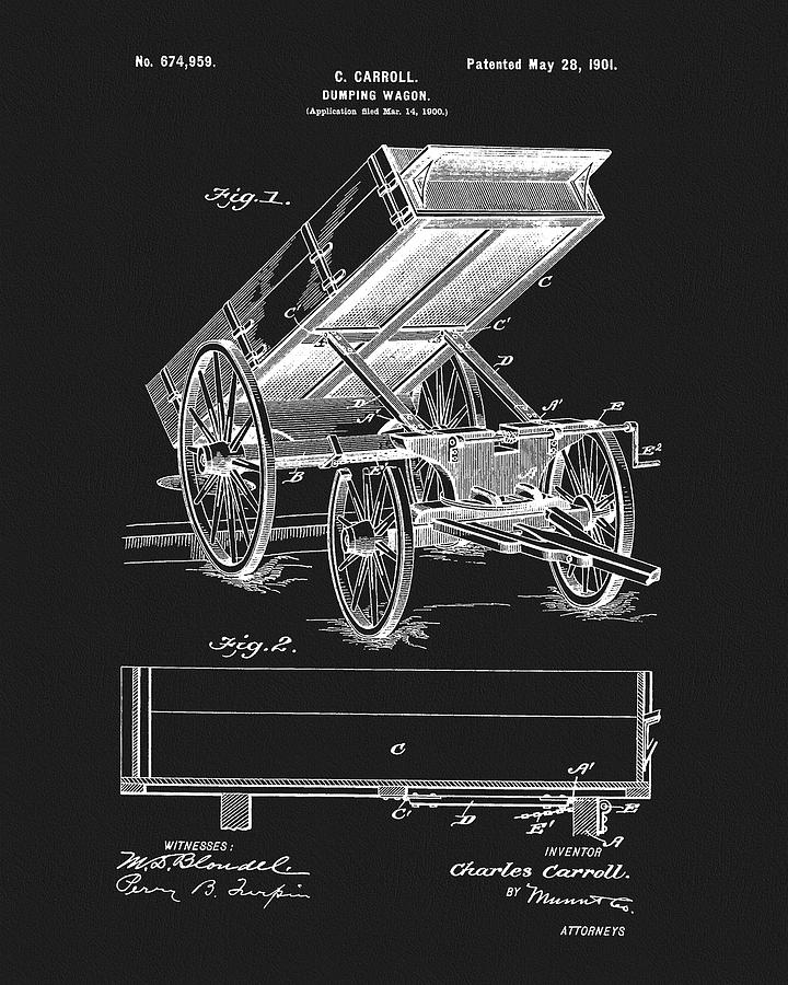 Wagon Mixed Media - 1901 Dumping Wagon Patent by Dan Sproul