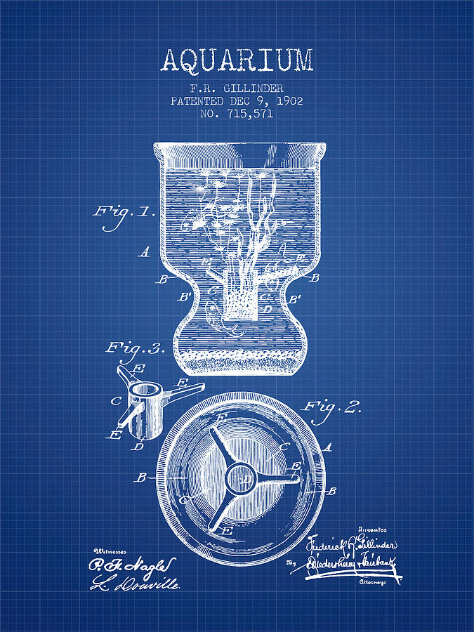 Fish Bowl Digital Art - 1902 Aquarium Patent - Blueprint by Aged Pixel