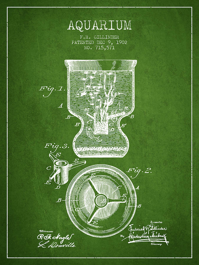 Fish Bowl Digital Art - 1902 Aquarium Patent - Green by Aged Pixel