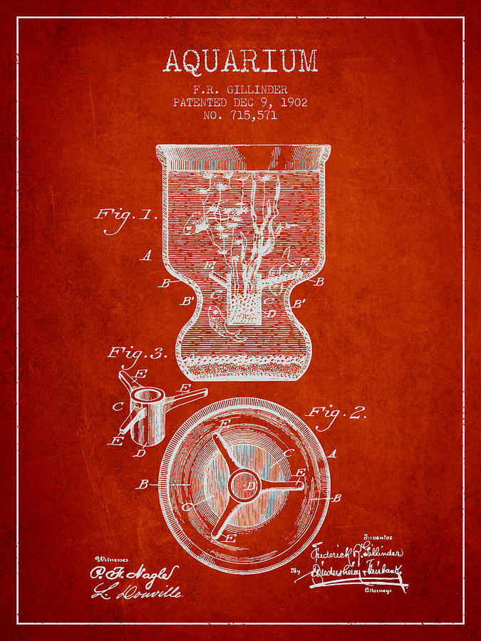 Fish Bowl Digital Art - 1902 Aquarium Patent - Red by Aged Pixel