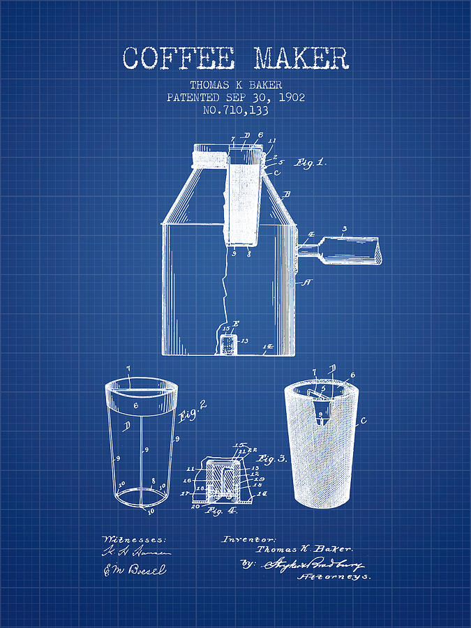 1902 coffee maker patent blueprint digital art by aged pixel