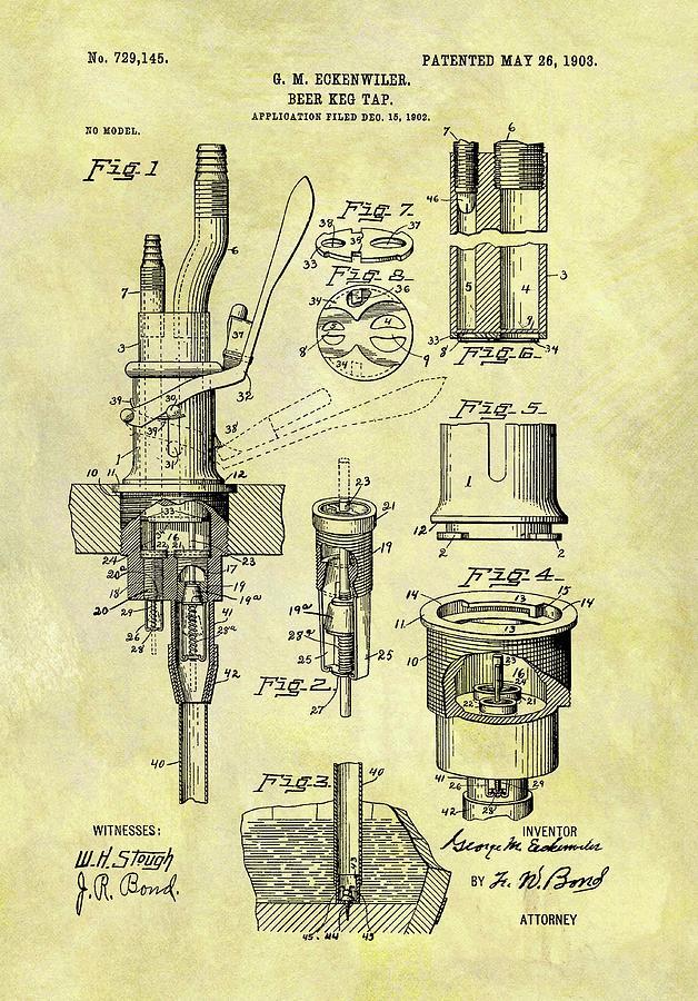 1903 Beer Keg Tap Drawing