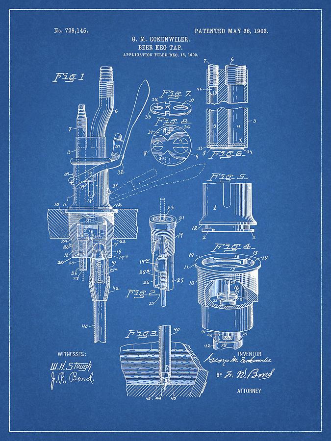 1903 Beer Tap Design Drawing