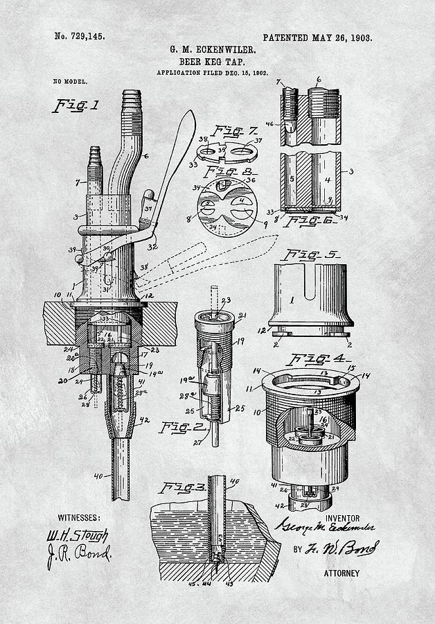 1903 Beer Tap Patent Drawing