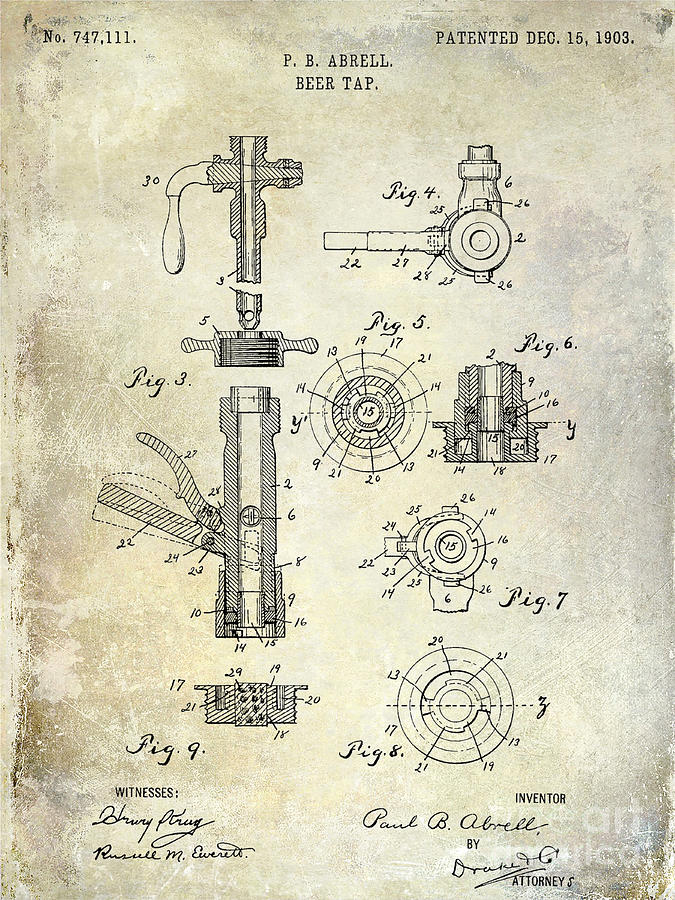 Beer Photograph - 1903 Beer Tap Patent by Jon Neidert