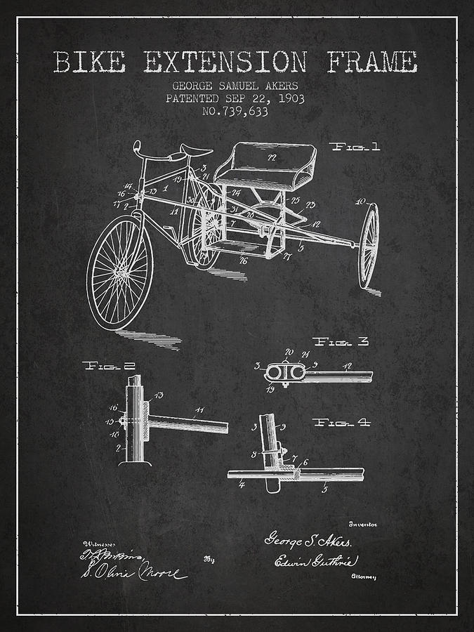 1903 Bike Extension Frame Patent - Charcoal Digital Art