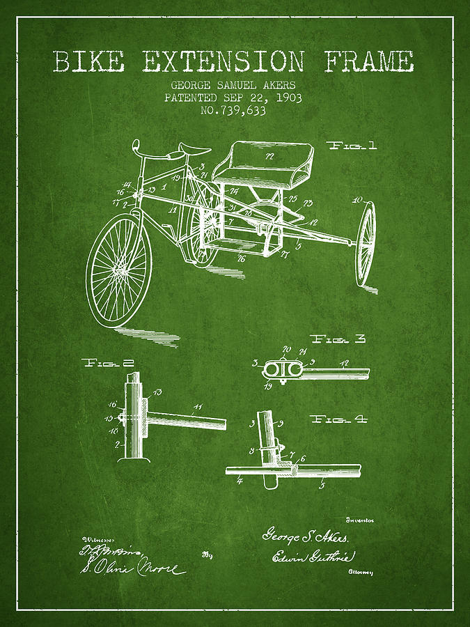 1903 Bike Extension Frame Patent - Green Digital Art