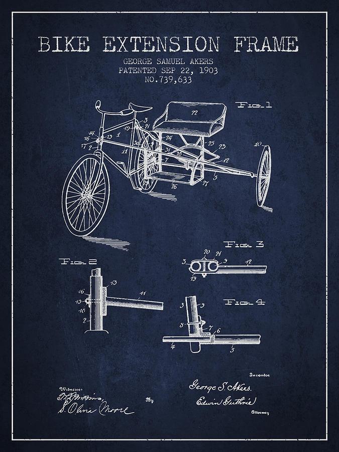1903 Bike Extension Frame Patent - Navy Blue Digital Art