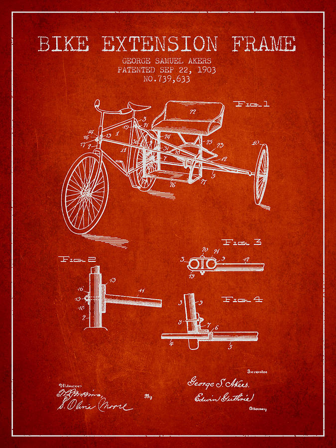 1903 Bike Extension Frame Patent - Red Digital Art