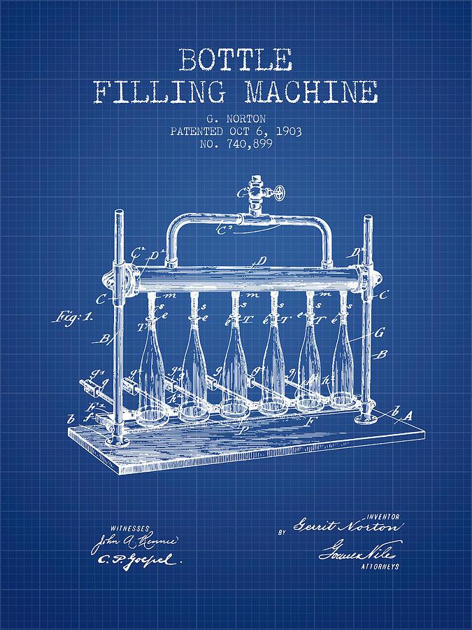 1903 bottle filling machine patent blueprint digital art by aged pixel bottling machine digital art 1903 bottle filling machine patent blueprint by aged pixel malvernweather Choice Image