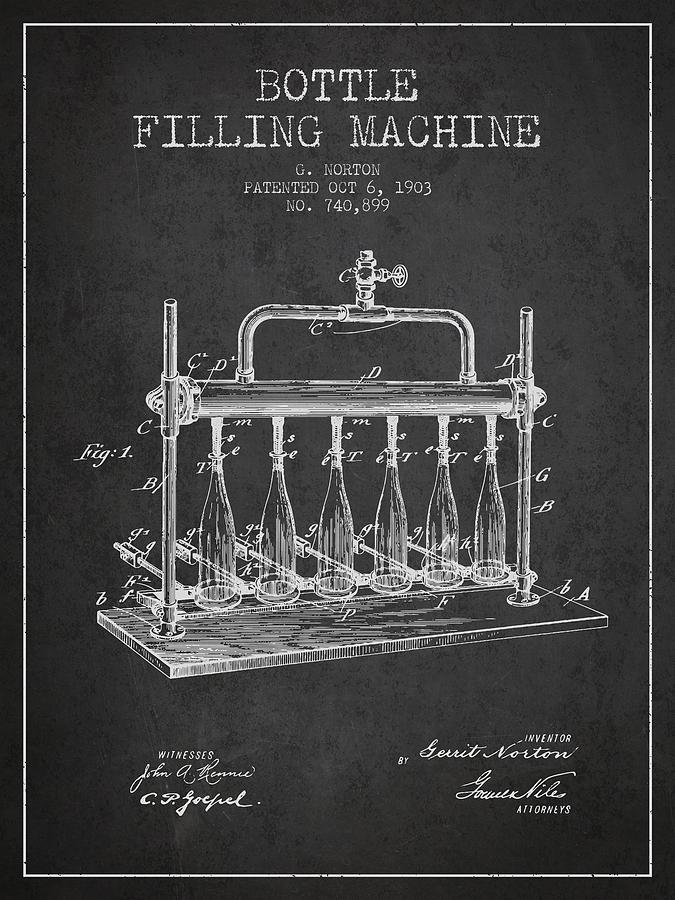 Bottling Machine Digital Art - 1903 Bottle Filling Machine Patent - Charcoal by Aged Pixel