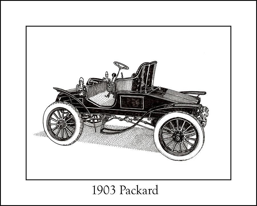 Chryslers Drawing - 1903 Packard by Jack Pumphrey