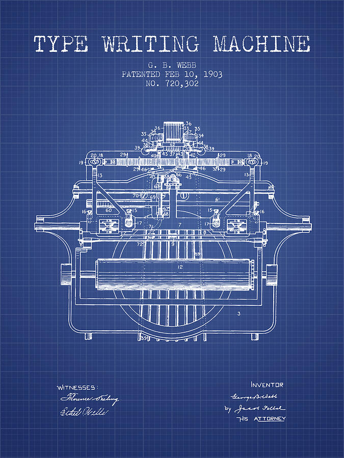 1903 type writing machine patent blueprint digital art by aged pixel typewriter digital art 1903 type writing machine patent blueprint by aged pixel malvernweather Choice Image