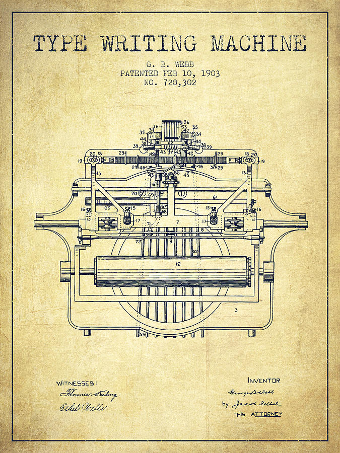 1903 Type Writing Machine Patent Vintage Digital Art By