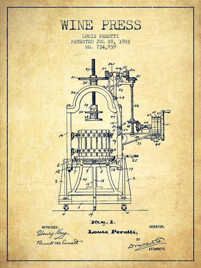 1903 Wine Press Patent Vintage 02 Digital Art By Aged Pixel