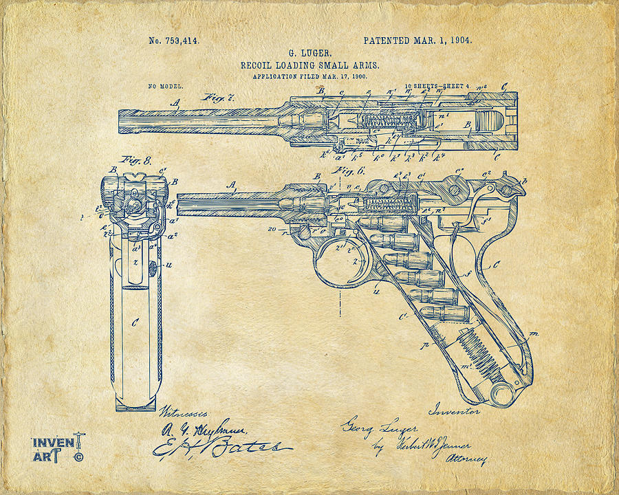 Luger Digital Art - 1904 Luger Recoil Loading Small Arms Patent - Vintage by Nikki Marie Smith