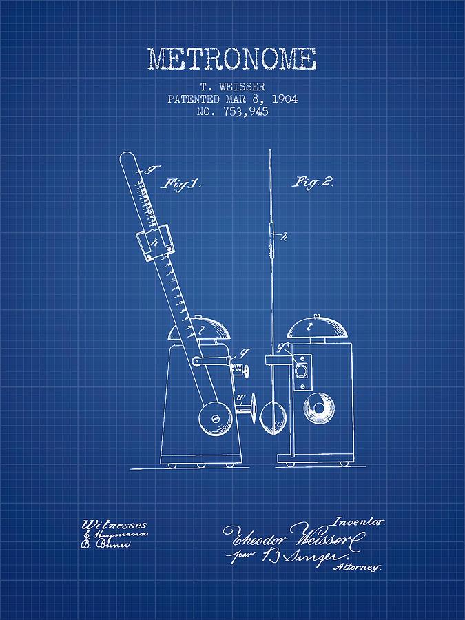 1904 metronome patent blueprint digital art by aged pixel metronome digital art 1904 metronome patent blueprint by aged pixel malvernweather Image collections