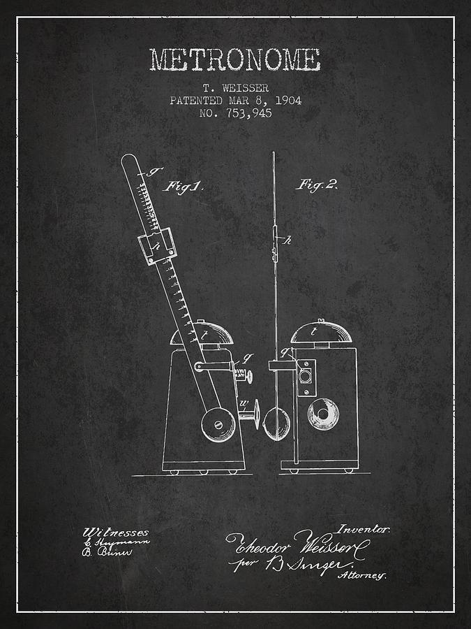 1904 Metronome Patent - Charcoal Digital Art